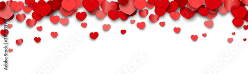 Obraz Valentines Day Background Design with Heart Stickers Scattered - fototapety do salonu