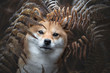 canvas print picture - chien shiba inu camouflé  dans les fougères