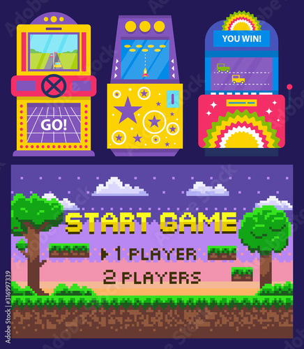 Fototapeta Vintage arcades, colorful retro game machines with car racing and rocket launching. Cartoon pixel art nature scene. Start game on screen, vector illustration. Pixelated video-game. Old school games obraz