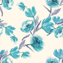 Flowers Seamless Pattern. Wate...