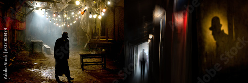Photo Silhouette of a man in a coat and hat in a dark alley on a rainy night