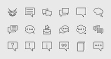 Set Of Speech Bubble Chat Vector Lines Of Icons. Editable Stroke. 32x32 Pixels.