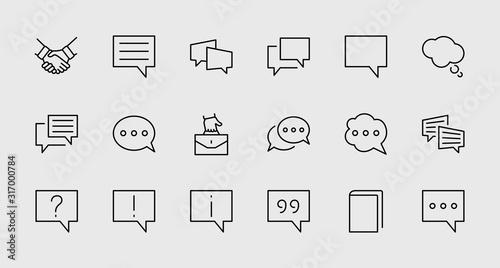 Obraz Set of Speech Bubble chat vector lines of icons. Editable Stroke. 32x32 pixels. - fototapety do salonu
