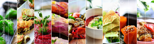 Fototapeta Collage of diverse food. Various tasty and healthy food. Vegetarian menu. obraz