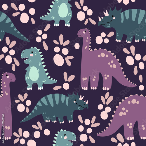 Photo Vector seamless pattern with cute dinosaurus in flat cartoons style