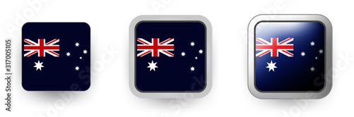 Set of 3 vector labels of Australia - flag shield button, flat and volumetric style in flag colors blue, red, white for poster, flyer