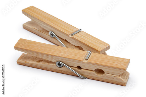 Cuadros en Lienzo Wooden clothes peg isolated on white