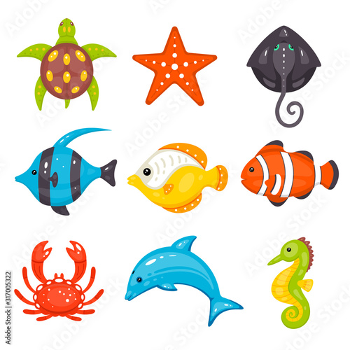 Sea animals vector set in cartoon hand drawn style. Marine life and underwater creatures contains turtle, seastar, stingray, fishes, crab, dolphin, seahorse. Wall mural