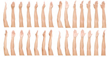 GROUP Of Female Asian Hand Gestures Isolated Over The White Background.
