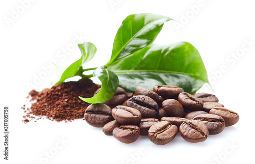 Fototapeta Coffee beans with leaf on white obraz