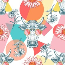 Seamless Pattern With Cows, Ge...