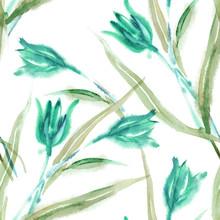 Field Flowers Seamless Pattern. Watercolor Background.