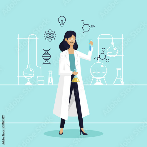 Fotomural Female scientist in lab checking chemical reaction from beaker vector illustration