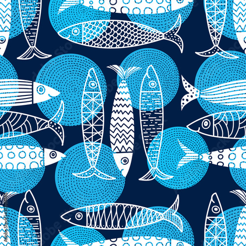 mata magnetyczna Cute fish. Kids line background. Seamless pattern. Can be used in textile industry, paper, background, scrapbooking.