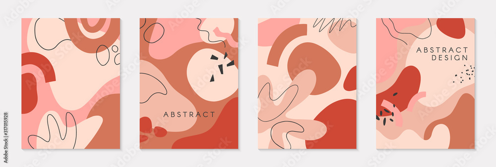 Fototapeta Set of modern vector illustrations with hand drawn organic shapes and textures in pastel colors.Trendy contemporary design perfect for prints,flyers,banners,invitations,branding design,covers and more
