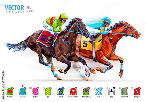 Two racing horses competing with each other Fotobehang