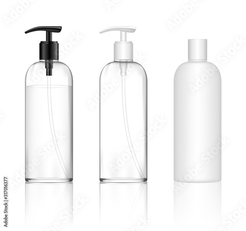 Fotografia Cosmetic transparent plastic bottle with dispenser pump