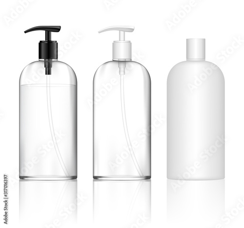 Fototapeta Cosmetic transparent plastic bottle with dispenser pump. Skin care bottles for shower gel, liquid soap, lotion, cream, shampoo, bath foam. Beauty product package. Vector illustration. obraz