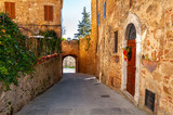 Fototapeta Uliczki - Pienza in Tuscany, Italy. UNESCO heritage village, called ideal city in the Renaissance period. Protected by high walls, it is famous for the