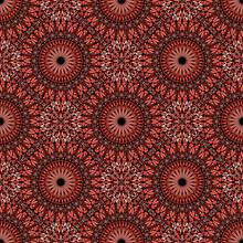 Red Geometrical Floral Mandala Mosaic Pattern Design Background - Abstract Elegant Spiritual Bohemian Oriental Vector Wallpaper