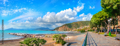 Fotografie, Obraz Waterfront and view of bay in Sestry Levante. Liguria, Italy