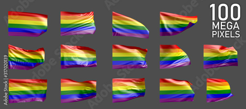 Gay Pride flag isolated - different realistic renders of the waving flag on grey Canvas Print