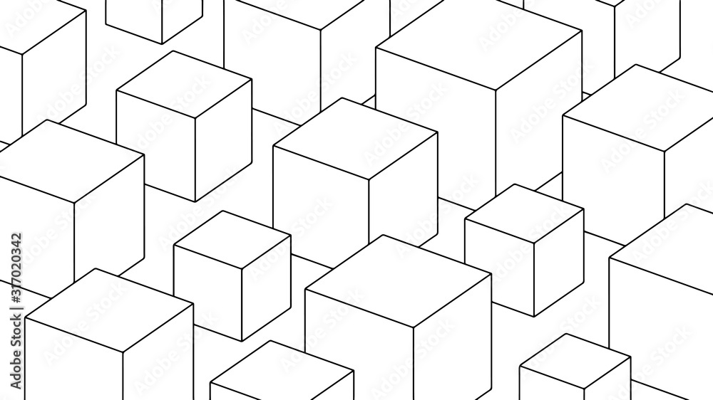 Fototapeta Abstract background, geometric texture design, modern pattern with cubes, vector illustration