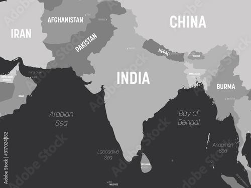Fényképezés South Asia map - grey colored on dark background