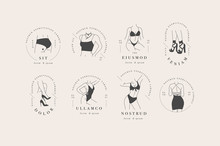 Vector Design Linear Template Logos Or Emblems - Graceful Faceless Lady. Female Logos For Lingerie Or Clothes.
