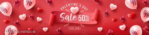 Fotografía Valentine's Day Sale 50% off Poster or banner with sweet hearts and sweet gifts on red background