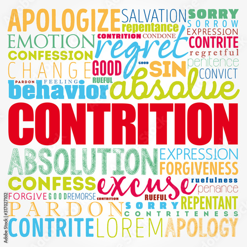 Contrition word cloud collage, concept background Wallpaper Mural