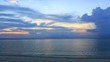 Beautiful cloudscape and sunset breaking through cloud over sea