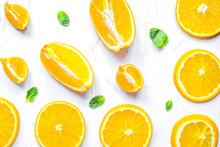 Slices For Orange Juice On Whi...