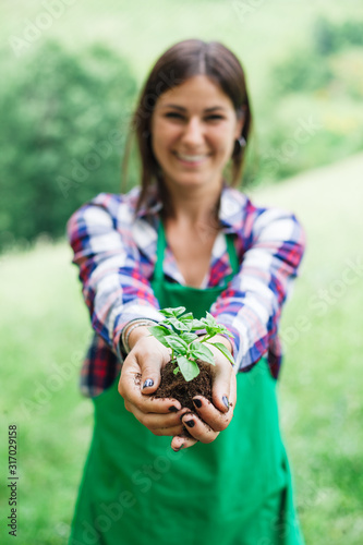 Photo Woman holds in her hands small basil plant with the earth during gardening day -