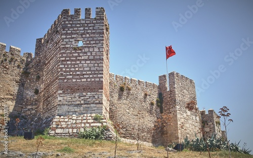 Low angle shot of the Byzantine Selcuk castle in Anatolia, Turkey Wallpaper Mural