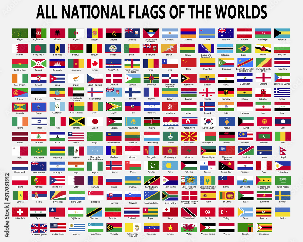 Fototapeta All national flags countries of the world.