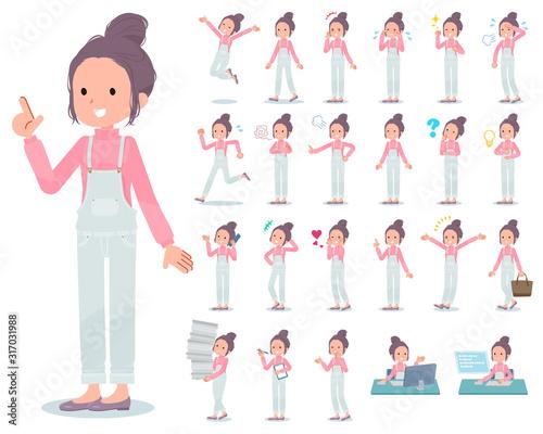 flat type salopette bun hair women_emotion Wall mural
