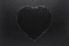 Black Heart Slate Plate On Bla...