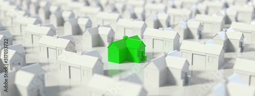 Fényképezés Green and white house, Hunting, searching and choosing new house minimal concept