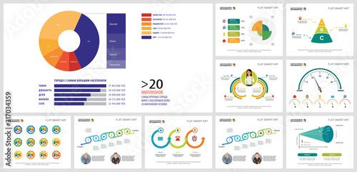 Colorful infographic diagrams set Wallpaper Mural