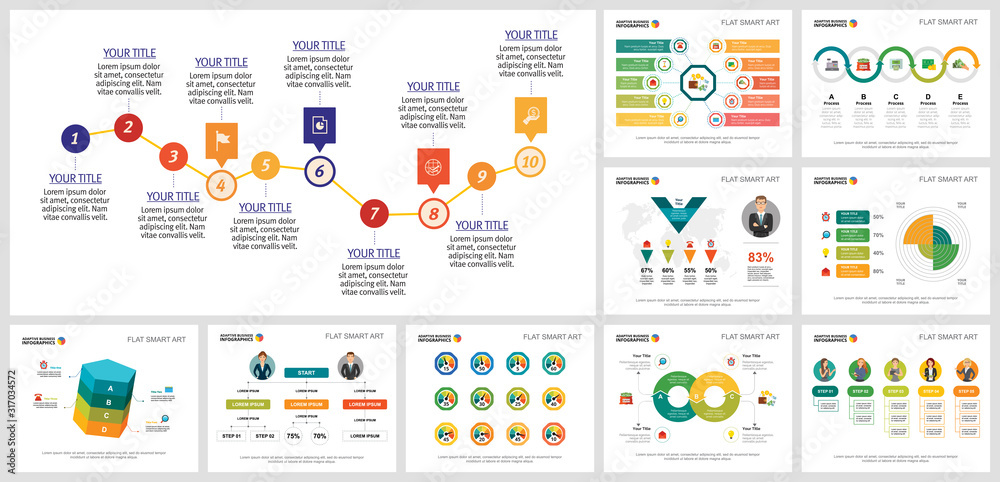 Fototapeta Colorful planning or strategy concept infographics set