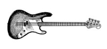 Electro Bass Guitar In Monochr...