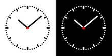 Set Illustration Of Simple Clock Face With Black And White Dial, Minute And Hour Hand And Red Center, Vector