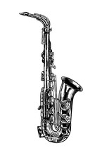 Jazz Saxophone In Monochrome E...