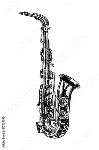 Photo Jazz saxophone in monochrome engraved vintage style