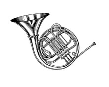 Jazz French Horn In Monochrome Engraved Vintage Style. Hand Drawn Trumpet Sketch For Blues And Ragtime Festival Poster. Musical Classical Wind Instrument.