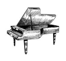 Grand Piano In Monochrome Engr...