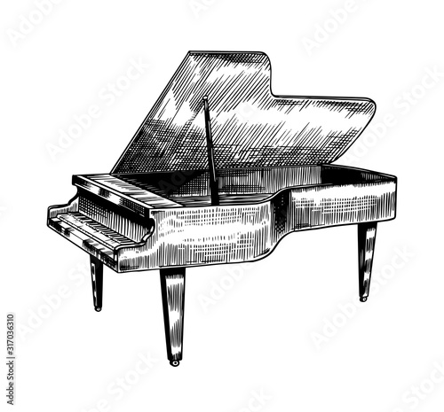 Photo Grand piano in monochrome engraved vintage style