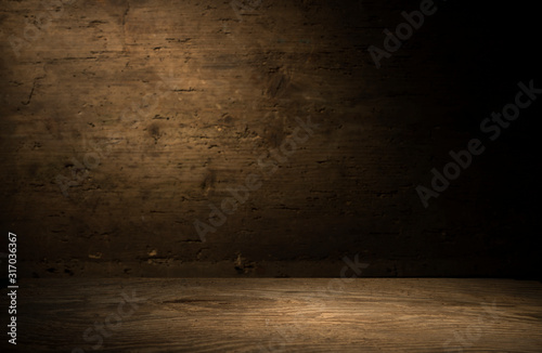 Obraz wood brown grain texture, dark wall background, top view of wooden table - fototapety do salonu