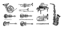 Jazz Classical Wind Instruments Set. Musical Trombone Trumpet Flute Bass Guitar Semi-acoustic French Horn Saxophone Cello Tuba Violin Piano. Hand Drawn Monochrome Engraved Vintage Sketch.